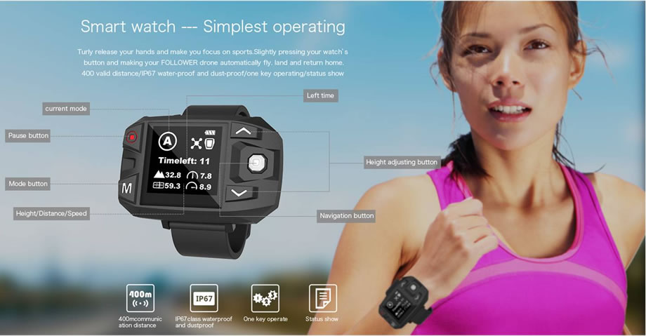 Ceewa RC Drone Smart Watch